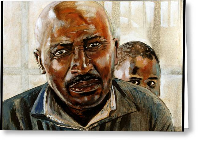 Black Man Paintings Greeting Cards - Visitor Greeting Card by John Lautermilch