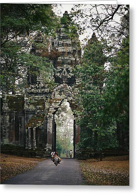 Indochinese Architecture And Art Greeting Cards - Visitors Enter The Angkor Wat Complex Greeting Card by Steve Raymer