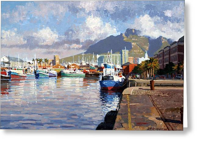 Cape Town Paintings Greeting Cards - Visual Delight Cape Town Greeting Card by Roelof Rossouw