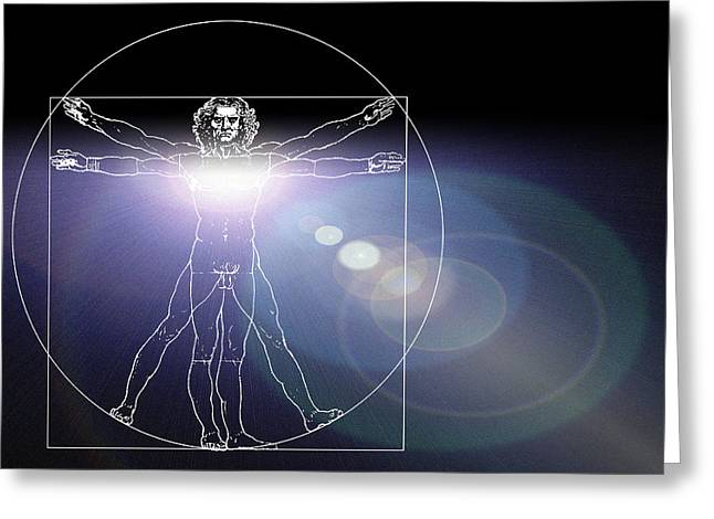 Vitruvian Man With Flare In Chest Greeting Card by Laguna Design