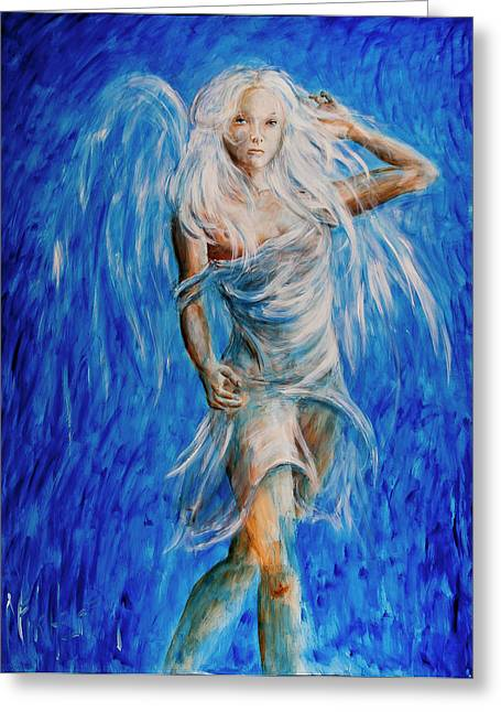Angel Blues Greeting Cards - Viva Forever Greeting Card by Nik Helbig