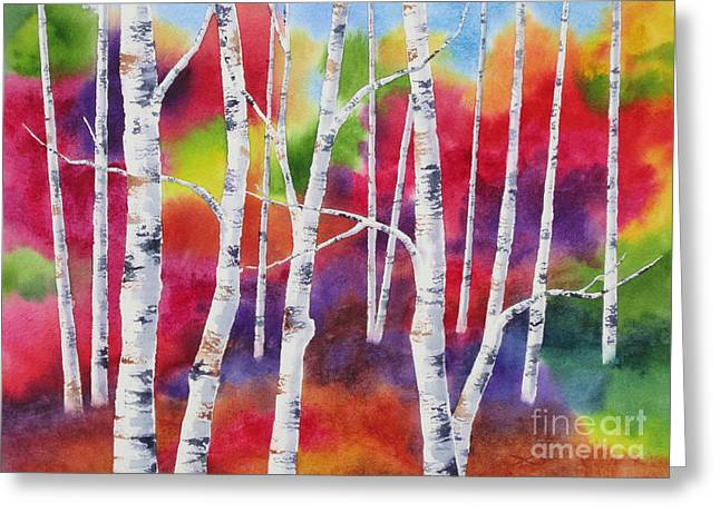 Autumn Landscape Paintings Greeting Cards - Vivid Autumn Greeting Card by Deborah Ronglien