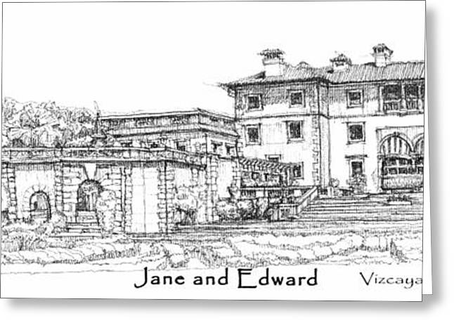 Detailed Ink Drawing Drawings Greeting Cards - Vizcaya for Jane and Edward Greeting Card by Building  Art