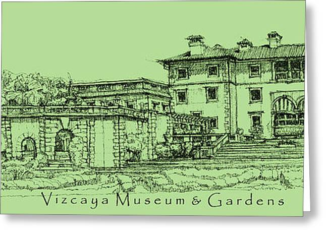 Detailed Ink Drawing Drawings Greeting Cards - Vizcaya in olive green  Greeting Card by Building  Art
