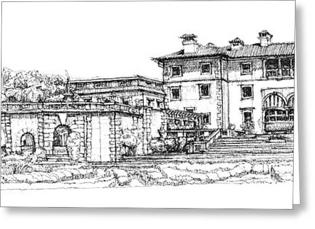 Detailed Ink Drawing Drawings Greeting Cards - Vizcaya Museum and Gardens  Greeting Card by Building  Art