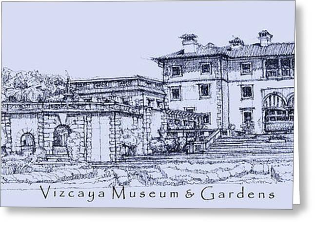 Detailed Ink Drawing Drawings Greeting Cards - Vizcaya Museum and Gardens in blue  Greeting Card by Building  Art