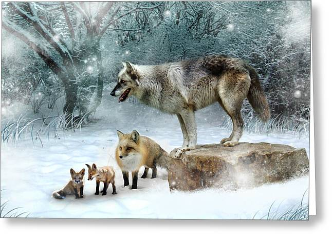 Cub Digital Art Greeting Cards - Vladimir Vanessa and the Vixens  Greeting Card by Julie L Hoddinott