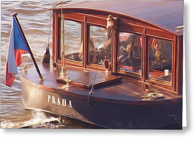 Czech Flag Greeting Cards - Vltava River Boat Greeting Card by Shawn Wallwork