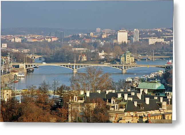 Vltava river in Prague - Tricky laziness Greeting Card by Christine Till