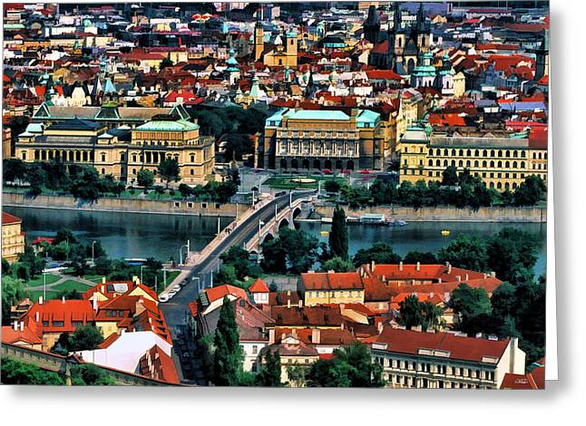 Prague Paintings Greeting Cards - Vltava River Prague Greeting Card by Dean Wittle