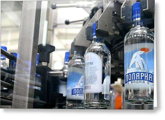 Bottle. Bottling Photographs Greeting Cards - Vodka Bottling Machine Greeting Card by Ria Novosti