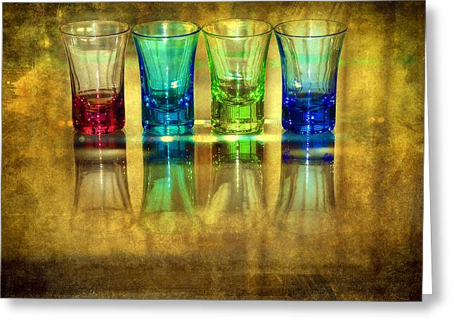 Glass Table Reflection Digital Art Greeting Cards - Vodka Glasses Greeting Card by Svetlana Sewell