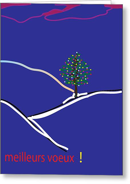 Postal Drawings Greeting Cards - Voeux 01 Greeting Card by Mireille Leduc