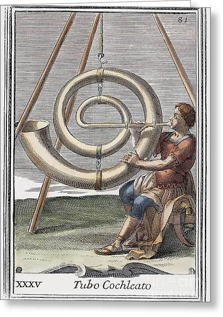 Playing Musical Instruments Greeting Cards - Voice Amplifier, 1723 Greeting Card by Granger