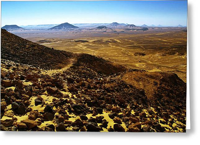Destination Scenics Pyrography Greeting Cards - Volcanic Black desert Greeting Card by Vera Golovina