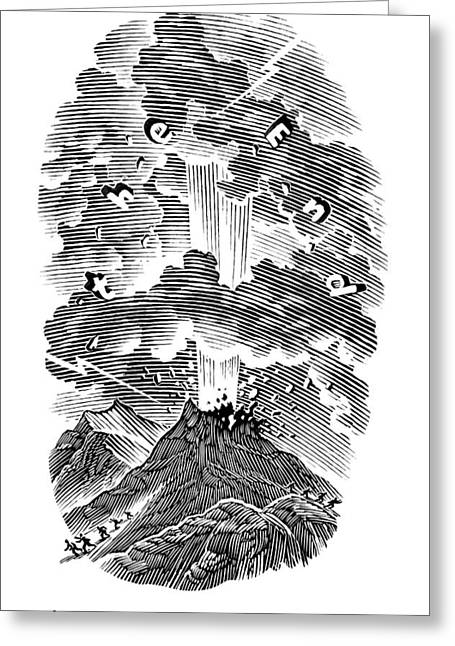 Volcanic Eruption, Artwork Greeting Card by Bill Sanderson
