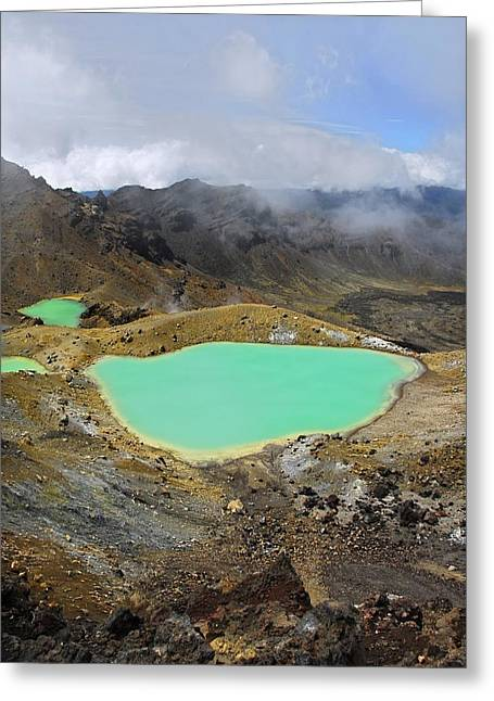 Algal Greeting Cards - Volcanic Lakes, New Zealand Greeting Card by Cordelia Molloy