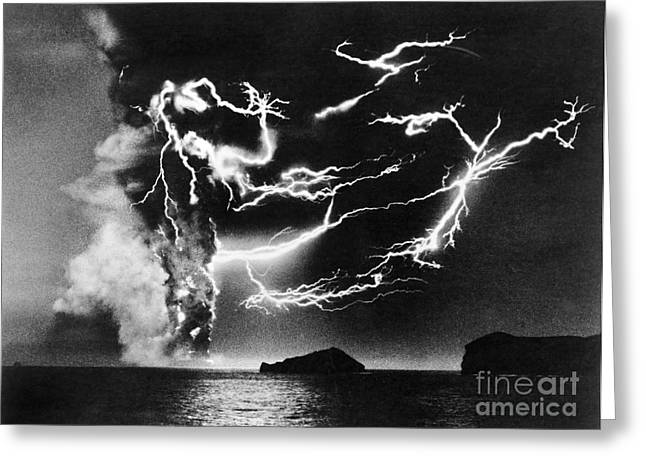Lightning Photographs Greeting Cards - Volcanic Lightning, 1963 Greeting Card by Granger