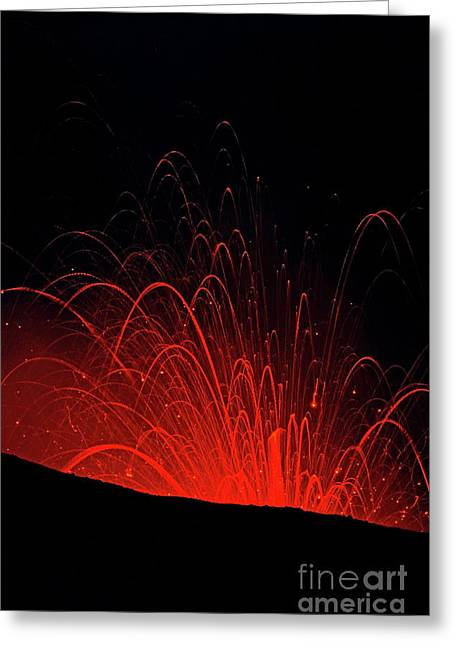 Craters Greeting Cards - Volcanic night eruption Greeting Card by Sami Sarkis