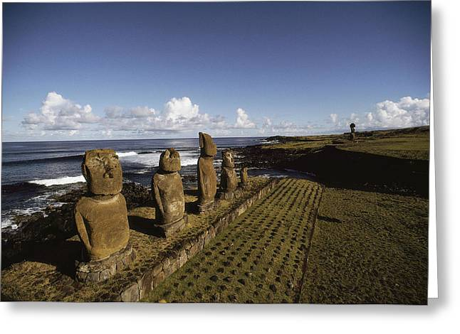 Devotional Photographs Greeting Cards - Volcanic Rock Statues, Called Moai Greeting Card by James P. Blair