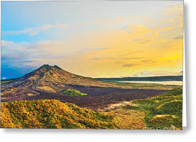 Crater Lake Twilight Greeting Cards - Volcano Batur Greeting Card by MotHaiBaPhoto Prints