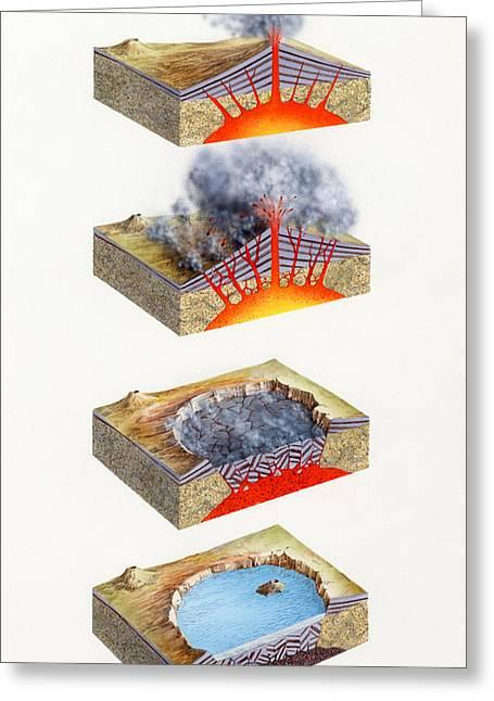 Crater Lake Artwork Greeting Cards - Volcano Caldera Formation Greeting Card by Gary Hincks