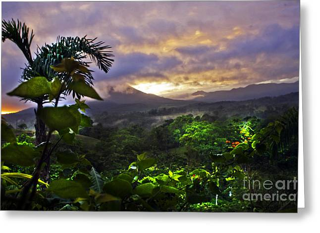 Costa Greeting Cards - Volcano in Costa Rica Greeting Card by Madeline Ellis