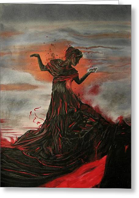 Melita Greeting Cards - Volcano keeper Greeting Card by Melita Safran