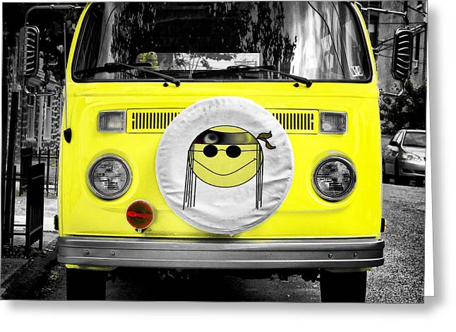 Hippie Volkswagon Greeting Cards - Volkswagon Hippie Bus Greeting Card by Bill Cannon