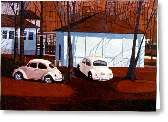 Beetle Paintings Greeting Cards - Volkswagons in Red Greeting Card by Donald Maier