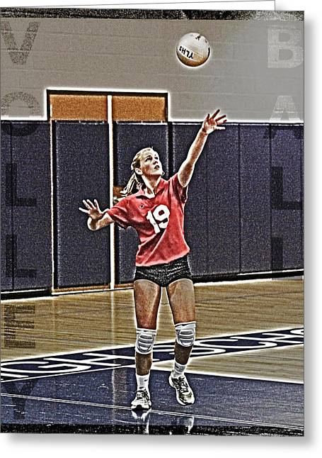 Girl Sports Greeting Cards - Volleyball Girl Greeting Card by Kelley King