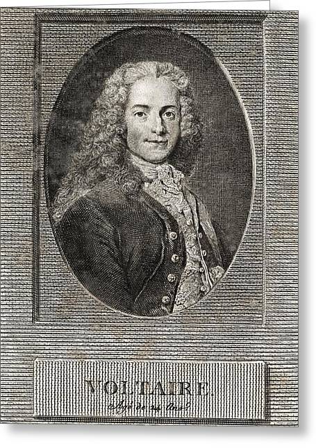 European Artwork Greeting Cards - Voltaire, French Author Greeting Card by Middle Temple Library