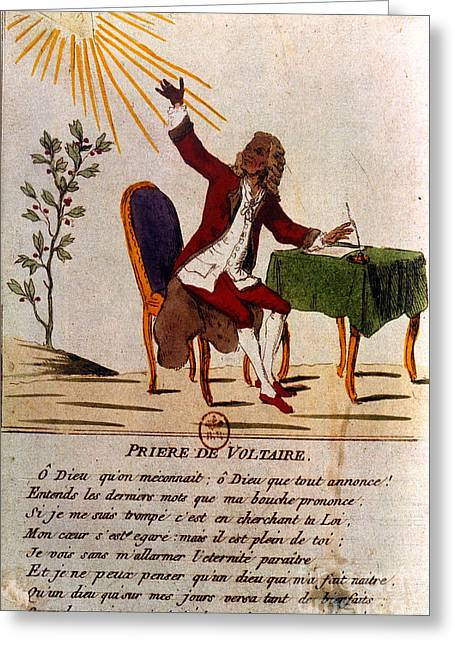 1770s Greeting Cards - Voltaires Prayer, 1756 Greeting Card by Granger