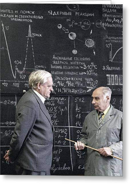 1980s Portraits Greeting Cards - Vorobyev And Flyorov, Soviet Physicists Greeting Card by Ria Novosti
