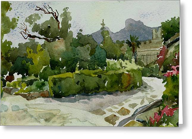 Green Day Paintings Greeting Cards - Vorontsovsky park Greeting Card by Natalia Sinelnik