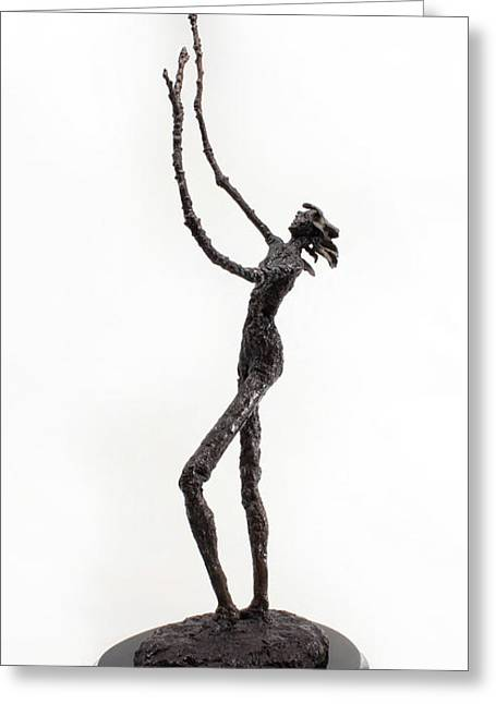 Texture Sculptures Greeting Cards - Votary of the Rain a sculpture by Adam Long Greeting Card by Adam Long