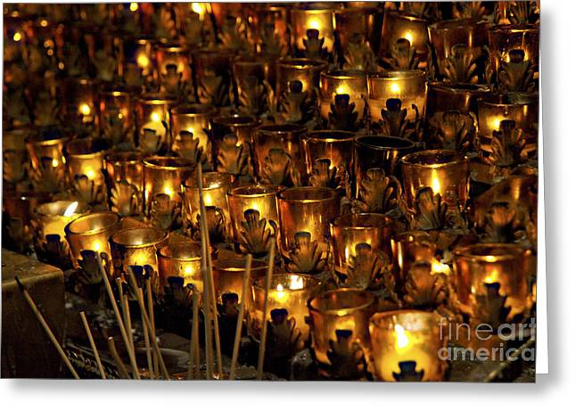 St. Patrick Greeting Cards - Votive Candles Greeting Card by John Greim