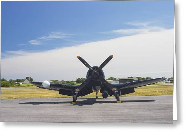 Airplane Propeller Greeting Cards - Vought F4U Corsair Fighter Plane on Runway Canvas Photo Poster Print Greeting Card by Keith Webber Jr