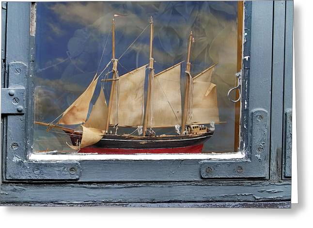 Old Window Greeting Cards - Voyage in a Window Greeting Card by Robert Lacy