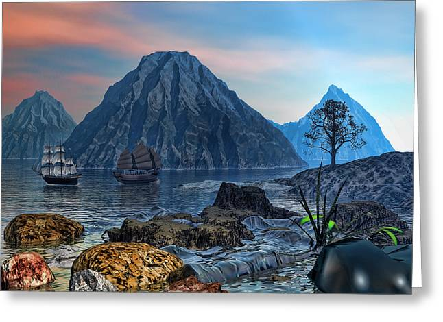 Ship Digital Art Greeting Cards - Voyage Out Greeting Card by Lourry Legarde