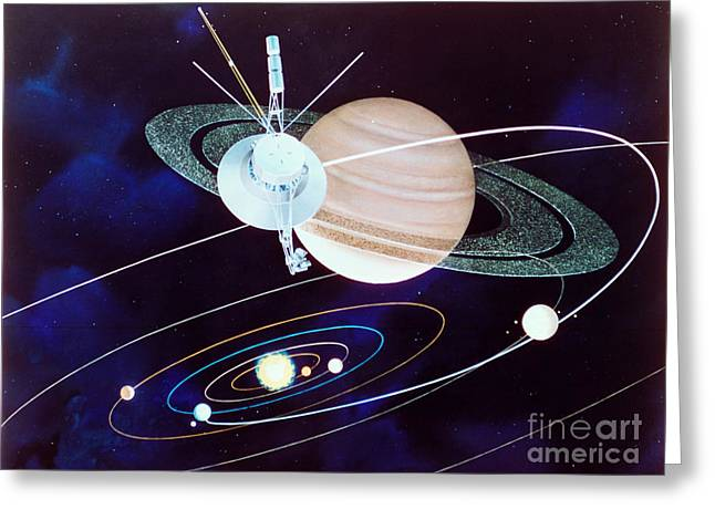 Voyager Saturn Flyby Artwork Greeting Card by Science Source