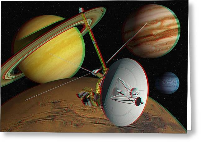1980s Greeting Cards - Voyager Spacecraft, Stereo Image Greeting Card by David Ducros