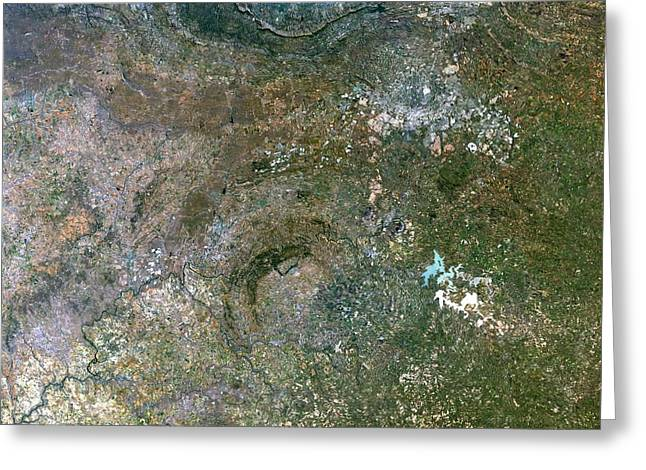 African Heritage Greeting Cards - Vredefort Crater, Satellite Image Greeting Card by Planetobserver