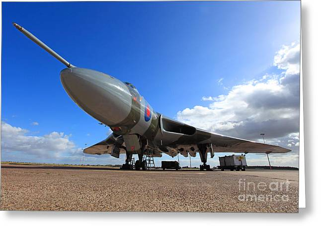 Clare Scott Greeting Cards - Vulcan XH558 Greeting Card by Clare Scott