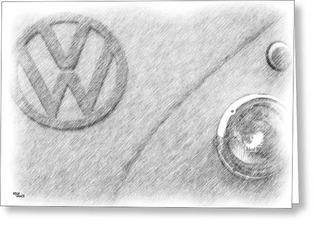 Headlight Drawings Greeting Cards - Vw Greeting Card by Adam Vance