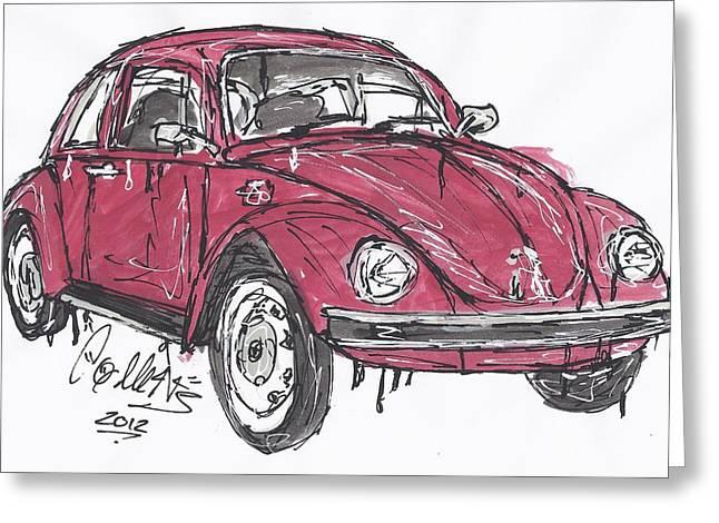 Vw Beetle Paintings Greeting Cards - Vw Beetle  Greeting Card by James Collins