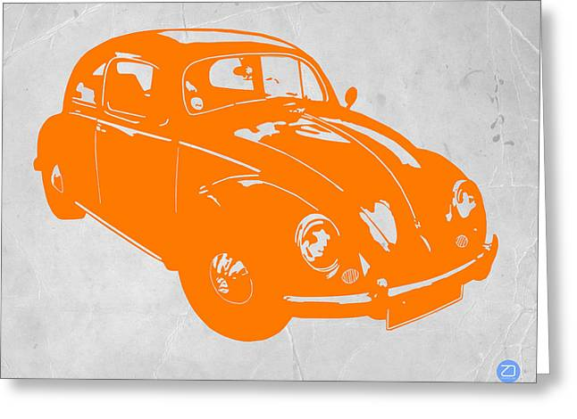 Furniture Greeting Cards - VW Beetle Orange Greeting Card by Naxart Studio