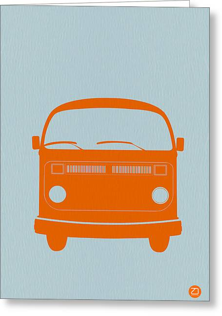 Hippy Greeting Cards - VW Bus Orange Greeting Card by Naxart Studio