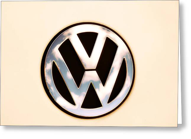 Vw Beetle Greeting Cards - VW Emblem Greeting Card by Bill Cannon