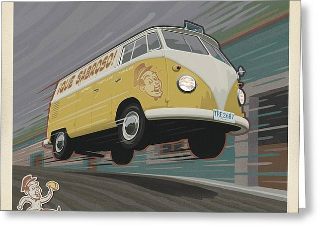 Taco Greeting Cards - Vw Van High Speed Delivery Greeting Card by Mitch Frey